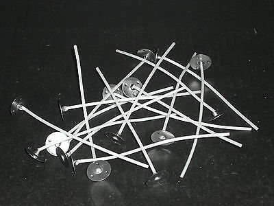 20 Pre Waxed Wicks for Candle Making Votives / Small Candles (LX12). 80mm long