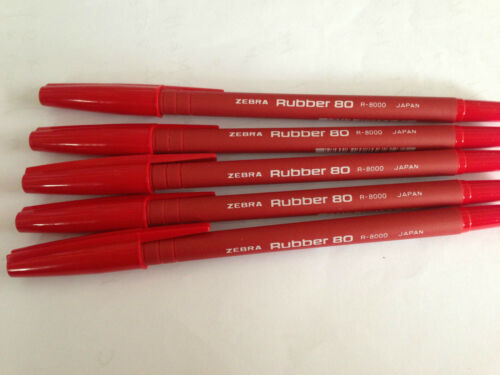 Zebra Rubber 80 ball pens in Red ink color x 5 pcs #R-8000  **CRAZY SALES