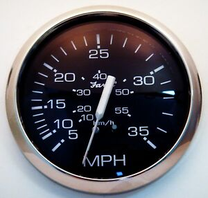 New-Faria-Chesapeake-Stainless-Steel-35-MPH-Boat-Speedometer-Gauge-Speedo-Pitot