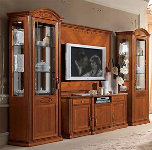 Exlusives wohnzimmer wohnwand kirschbaum furnier klassische stilm bel italien ebay - Klassische wohnwand ...