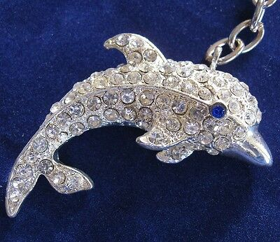 NEW Keyring DOLPHIN Pewter Gemstones Crystals Silver Tone Key Ring Gift
