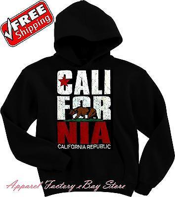 New Men's CALIFORNIA REPUBLIC BEAR Black Hoodie pullover sweatshirt cali flag