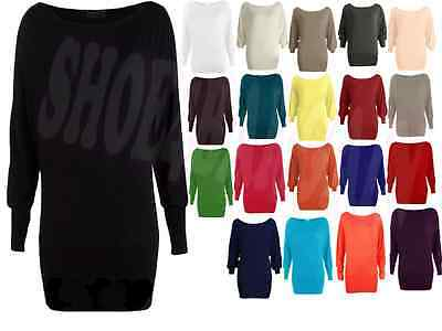 WOMENS LONG SLEEVE PLUS SIZES OFF SHOULDER PLAIN LADIES BATWING TOP LOT 14,20