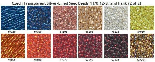 Czech 11/0 Transparent Silver-Lined Seed Beads 12-strand Hank 2