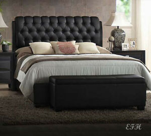 New Franco Ii Black Finish Wood Tufted Bycast Leather