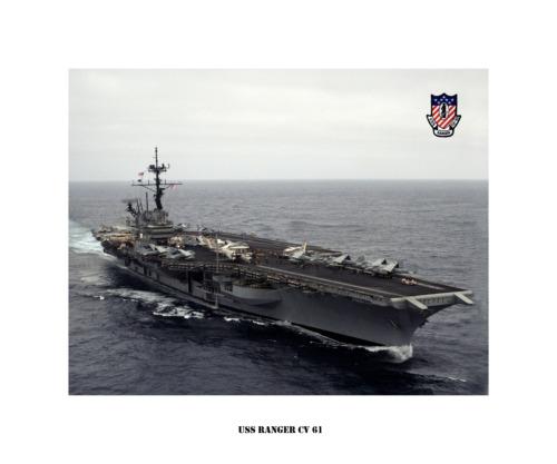 USS RANGER CV 61 -- ca.1993 Naval Ship Photo Print, USN Navy