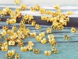 300PCS Gold plate butterfly earring backs stopper#19983