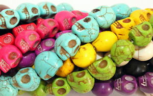 Howlite-SUGAR-SKULLS-Gemstone-Beads-1-strand-lot-of-33