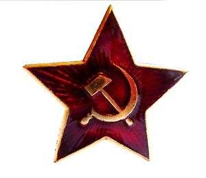 RUSSIAN-MILITARY-RED-STAR-PIN-BADGE-Genuine-Soviet-army-beret-jacket-badge-USSR
