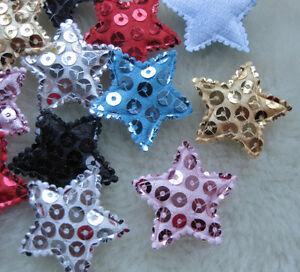 E135-200-50pcs-Padded-Sequin-Star-Appliques-DIY-Craft-Kid-039-s-Doll-Lots-U-Pick