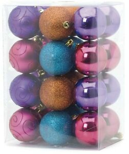 Set-of-24-Multi-Coloured-Tree-Decoration-Christmas-Baubles-NEW-18363