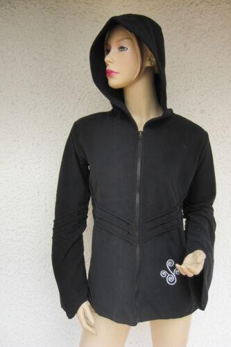 Elfi Goa Psy Gothic morbide Wicca in pile Giacca Jacket estremità cappuccio pointed hood X