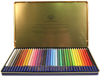 36 FANTASIA COLORED PENCILS IN TIN STORAGE CASE ~For ART, DRAWING