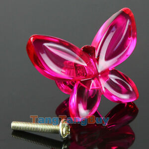10 x Acrylic Fuchsia Butterfly Design Drawer Knobs Pull ...