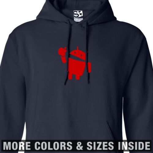 Android Eats Apple HOODIE Hooded Takes A Bite Sweatshirt All Sizes /& Colors