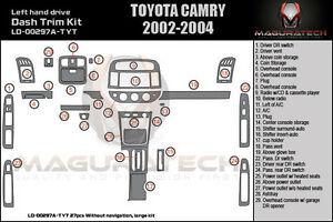 fits toyota camry 2002 2004 w o navigation large wood dash kit a 27pcs ebay. Black Bedroom Furniture Sets. Home Design Ideas