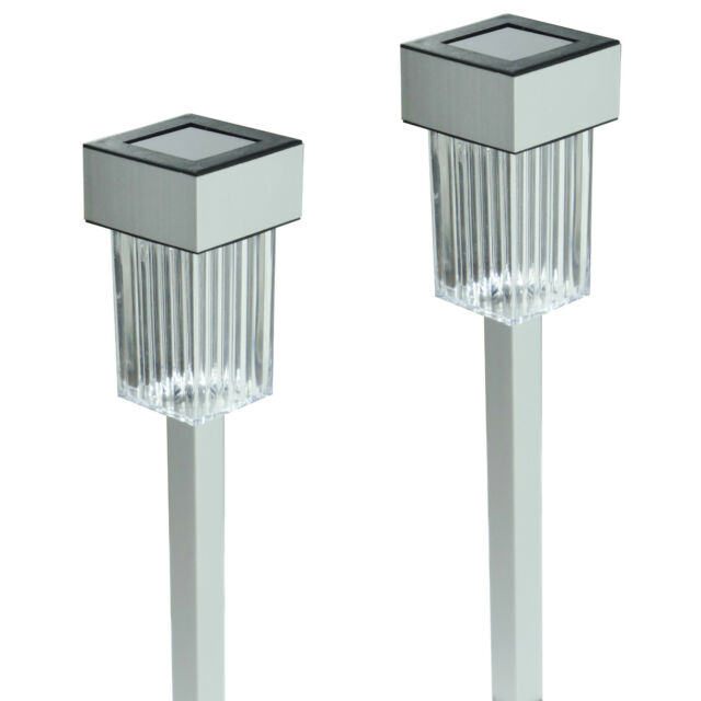 New 24 Pack Aluminum Outdoor White LED Solar Landscape Path Lights Yard Lamp