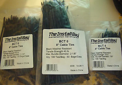 """(300) 4"""" 6"""" 8"""" Nylon Cable Wire Zip Ties Pull Strap Install 100 Each Sealed Tie"""