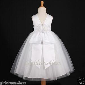 WHITE-WEDDING-PAGEANT-JR-BRIDESMAIDS-FLOWER-GIRL-DRESS-12M-18M-2-3-4-6-8-10-12