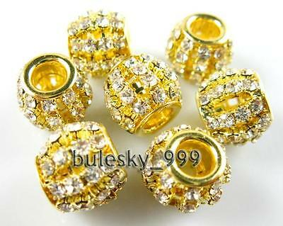 10pcs Crystal Rhinestone European Style Spacer Bead 12mm Gold Clear Fit 4mm Cord