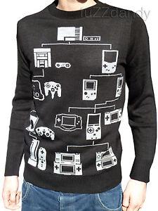 Mens-black-computer-games-console-jumper-vtg-retro-80s-90s-nerd-geek-super-mario