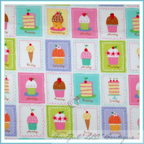 BonEful Fabric FQ Cotton Quilt Birthday Cupcake Ice Cream Cake Block Girl Dress