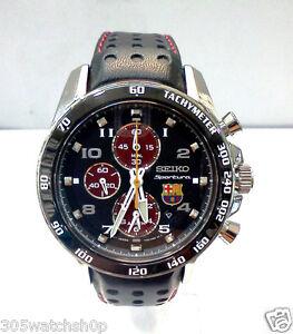 NEW-Seiko-Sportura-FC-Barcelona-Men-039-s-Black-Leather-Chronograph-Watch-SNAE75