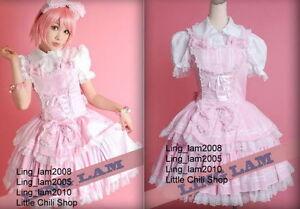 Dolly-Sweet-LOLITA-QUENNY-GOTHIC-PUNK-Pink-Plaid-DRESS-Shirt-Headdress-S-L