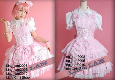 Dolly Sweet LOLITA QUENNY GOTHIC PUNK Pink Plaid DRESS+Shirt+Headdress S~L