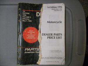 Honda Motorcycle Dealer Factory Parts Price List Manual ...
