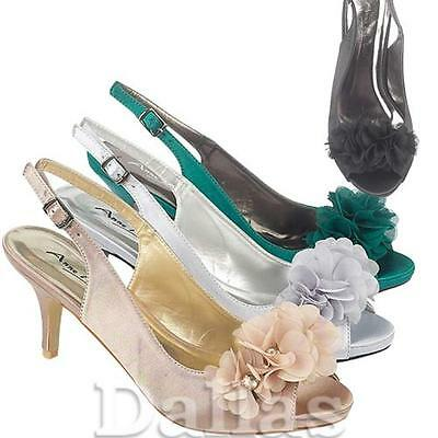 LADIES WEDDING SHOES NEW WOMENS GIRLS SATIN BRIDAL BRIDESMAID HEELS SANDALS SIZE