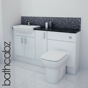 white gloss bathroom furniture white gloss bathroom fitted furniture 1500mm ebay 21539