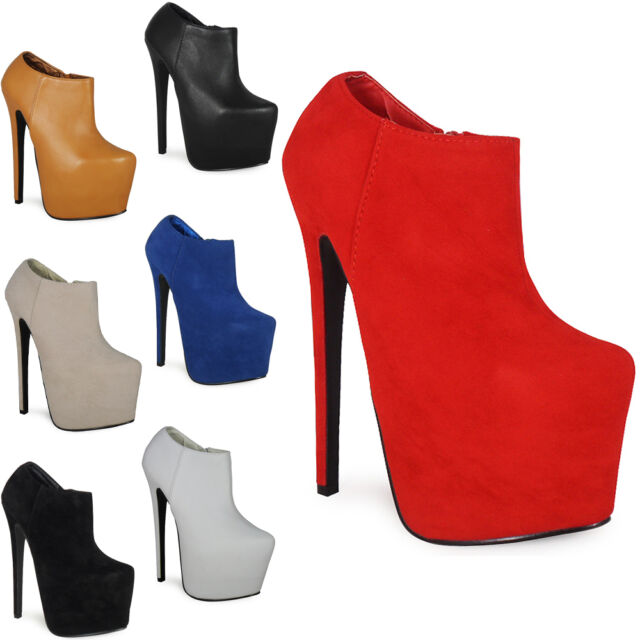 WOMENS LADIES CONCEALED PLATFORM 7 INCH HIGH STILETTO HEEL ANKLE BOOTS SHOES 3-8