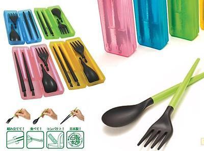 PVC Handy Spoon Fork Chopsticks Set Tableware Portable