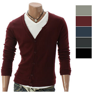 Youstars-Mens-Casual-V-neck-Button-Cardigan-Sweater-005D