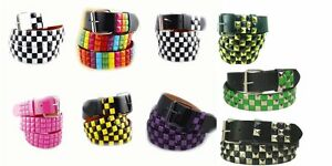 Fashion-Belt-3-Three-Row-Leather-Pyramid-Snap-On-Strap-Studded-Party-Accessories