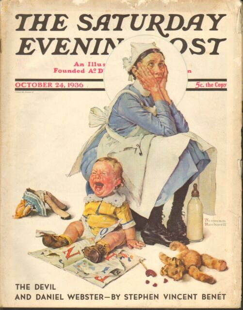 OCT 24 1936 SATURDAY EVENING POST magazine NORMAN ROCKWELL - BABY - TOYS