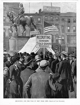 RECRUITING STATION FOR THE WAR IN NEW YORK CITY, HOTEL HUNGARIA, BY THULSTRUP