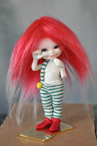 Flame-Red-Frost-Faux-Fur-Wig-Real-Puki-Felix-Brownie-1-6-Dollfie-size-3-4-BJD