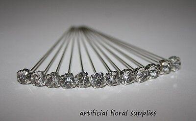 12 LUXURY choose your size! CLEAR DIAMOND diamante pins WEDDING FLOWERS