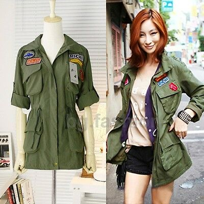 New Hot Womens Casual Punk Zip Up Jacket Trench Parka Military Coats Army Green
