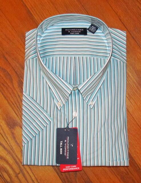 Roundtree Mens SS Lt Blue Gray White Striped Shirt M, 2X NWT