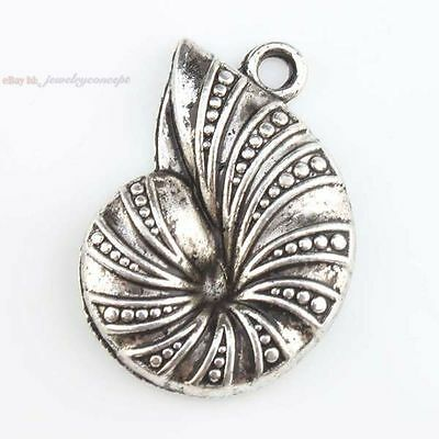 20x 143294 New Snail Animal Charm Plated Antique Silver Alloy Pendants Finding