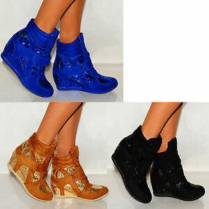 GLITTER-VELCRO-STRAP-HIGH-HI-TOP-SNEAKERS-LADIES-RETRO-WEDGE-TRAINERS-SHOES-3-8