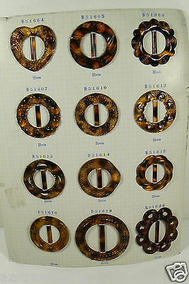 Vintage Salesman Sample Belt Buckles Display Card set of 12 Tortoise plastic