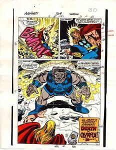 Original-1989-Thor-Avengers-309-Marvel-Comics-color-guide-art-1980s-Marvelmania