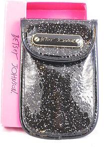 Betsey-Johnson-Black-Glitteratzzi-PDA-IPhone-Case-Pouch-BS29340-NWT