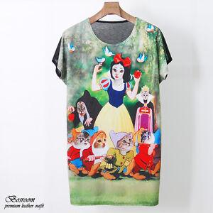 Women-039-s-snow-white-animal-cat-printed-graphic-t-shirt-long-top-dress-S-M-L