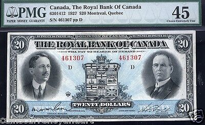 Royal  Bank of Canada $20 1927  6301412  PMG 45 SOLO HIGHEST PMG GRADE  Only ONE
