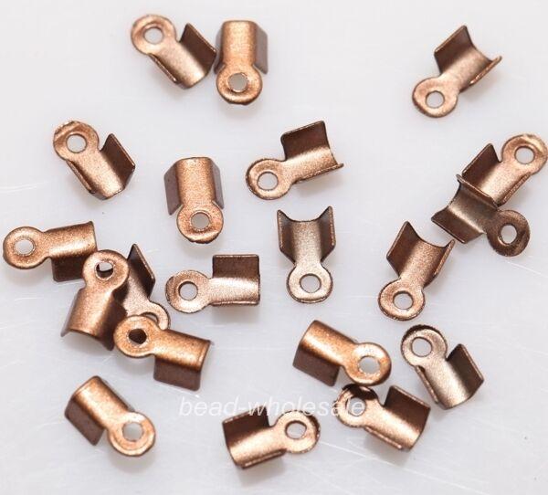 Wholesale 500 Fold Over End Cord Crimp Bead Cap Jewelry Design 6mm/9mm